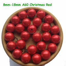 Wholesale 8mm 10mm 12mm Christmas Red Imitation Pearl Beads,Acrylic Spacer Ball Round Beads Fit Jewelry DIY,A60