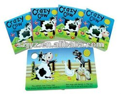 Bestywell sound moudle board book/children sound moudle board book with each page punched/crazy cow sound moudle board book