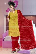 algodão vestido de cetim com o trabalho na cor amarela e vermelha