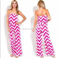Wide legs elastic waist strapless pink nice chevron zig zag jumpsuit
