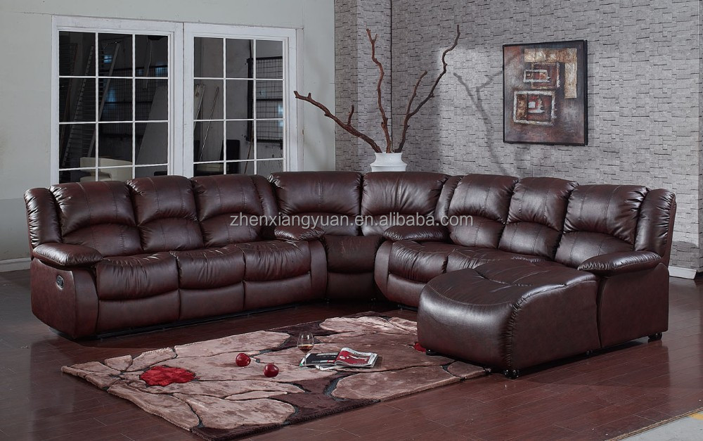 Living room furniture sectional sofa leather air fabric for Leather and fabric living room sets