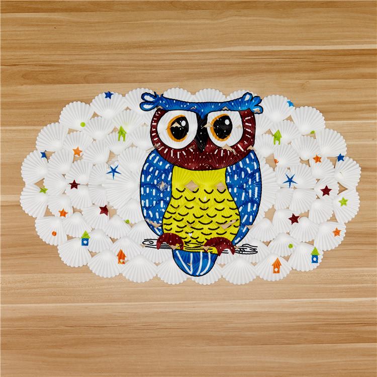 De búho impreso antideslizantes alfombras de baño para los niños de forma de ducha de pvc mat con lechón