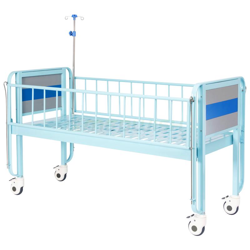 Muebles de acero de seguridad barrera plana médica cama de niño manual hogar dimensiones pediátrica cama hospital cama