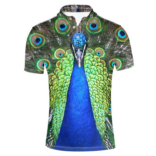 Đàn ông Plus Áo sơ mi 3D Peacock Horse Tops tees Động vật đứng cổ áo sơ mi nam Casual Quần áo Harajuku Trẻ nam