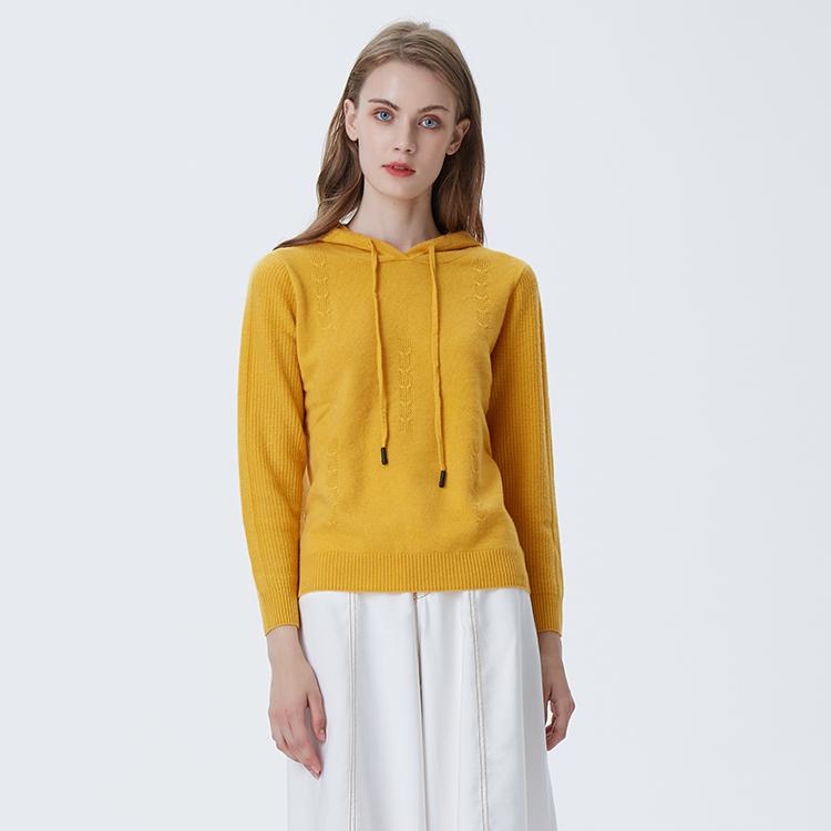 Модный милый чистый цвет с длинным рукавом вязаный кашемировый свитер с капюшоном для Yong девочек