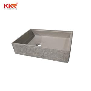 カスタムメイドセメントグレーカラー洗面コーリアン固体表面の浴室のシンクの樹脂石の洗面器