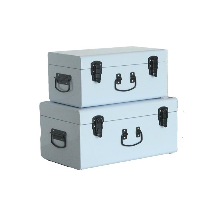 Lot de 2 bleu clair malle de rangement en métal valise avec noir accessoires