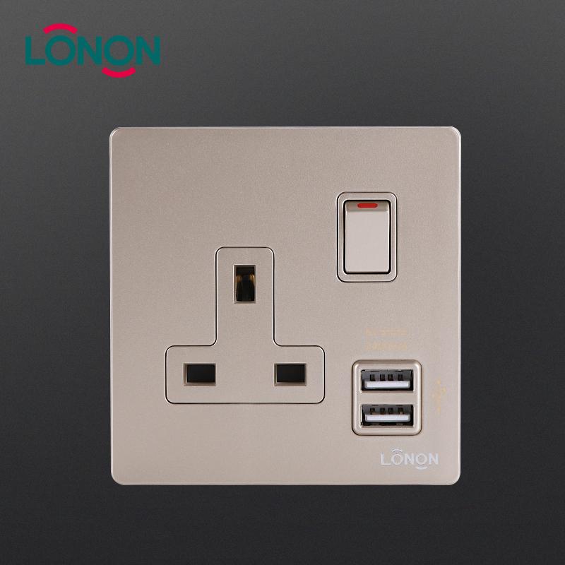 An toàn ANH 3 Pin Cắm 1 Gang 13a 250 v Đa chức năng chuyển đổi và ổ cắm với Cổng USB