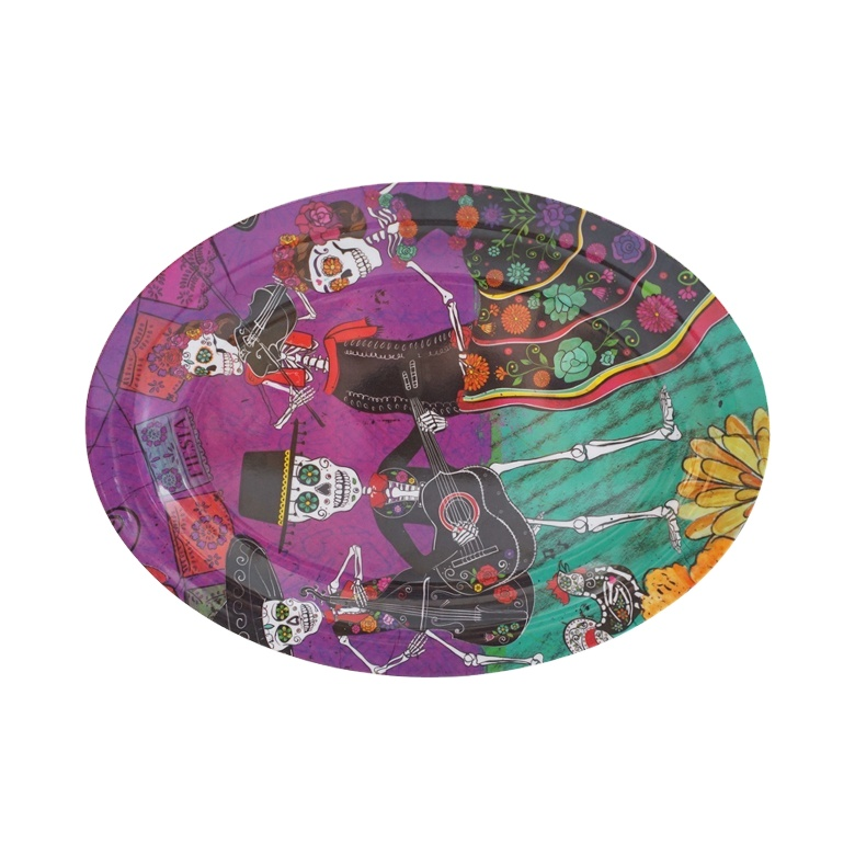 해골 음악가 인쇄 맞춤형 복잡한 색상 타원형 멜라민 할로윈 접시
