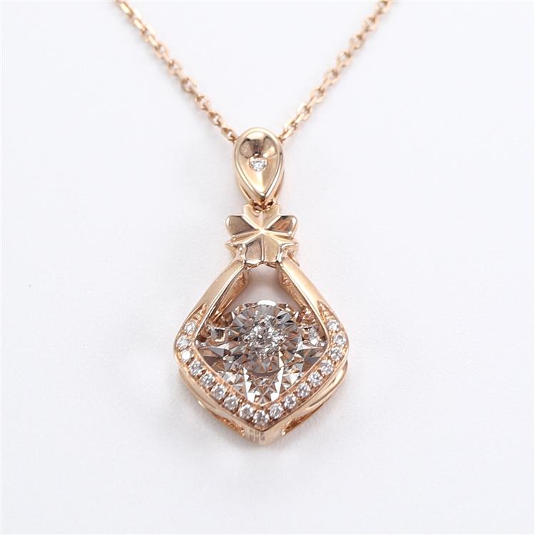 Schmuck Hersteller Luxus Diamant Anhänger 18k Rose Solid Gold Link Kette Clover Anhänger Halskette