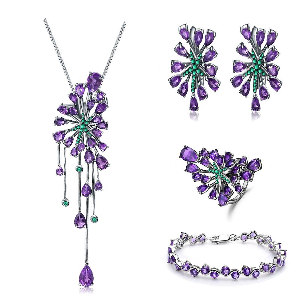 Permanente de la boda joyería nupcial verde esmeralda amatista pendiente de anillo de pulsera de collar de la joyería conjuntos
