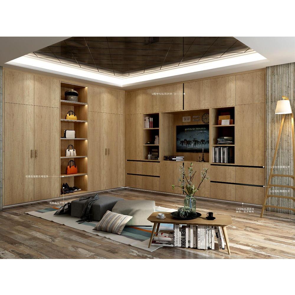 Carcaça HS-W408 com portas de espelho de madeira de madeira quarto roupeiro armários de alta mdf hi gloss projetos roupas