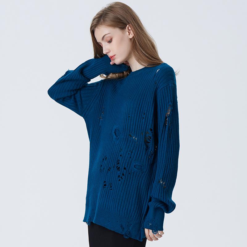 2020 Новая мода отверстие Yong дамы осень зима свитер большой размер Причинно пуловер с длинными рукавами