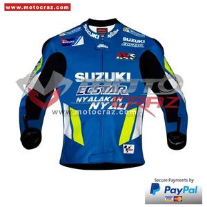 Su misura di Disegno di Cuoio del Motociclo Giacca Da Corsa, Joan Mir Suzuki Moto Giacca di Pelle, Joan Mir MotoGP 2019