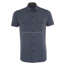 Top Quality Twin Pockets Men Short Sleeve Formal Shirt