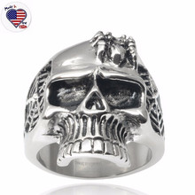 Wholesale Alibaba Fashion Jewelry Men's Stainless Steel Spider Web Skull Ring