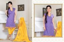 Embroidered Dark Purple & Shiny Yellow Pant Styal Salwar Suit