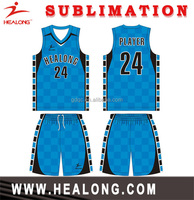Healong Dye Sublimation cool fit design basketball shirt basketball uniforms china supplier