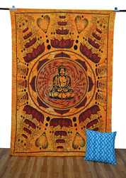 Buddh In Rectangle Mandala Indian Tapestry Wall Hanging Hippy Bohemian Tapestries tightly loomed fabric Home decor