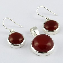 Natural Brown Carnelian 925 Sterling Silver 3 Pieces Set, Silver Jewellery Suppliers, Fashion Silver Jewellery