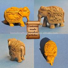Talla de madera tallada a mano de madera de decoración para el hogar- artefactos de elefantes