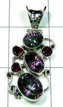 Celebrity look designer Garnet, Mystic quartz Gemstone Silver Pendant in Jaipur -ss4p517