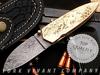 Damascus Steel Folding Knife by York Vivant Company YV-NA50 Eagle Head Scrimshaw Hand Work on Brass Handle