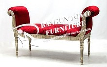 antique wood frame lounge ottoman chair - hot sale low price