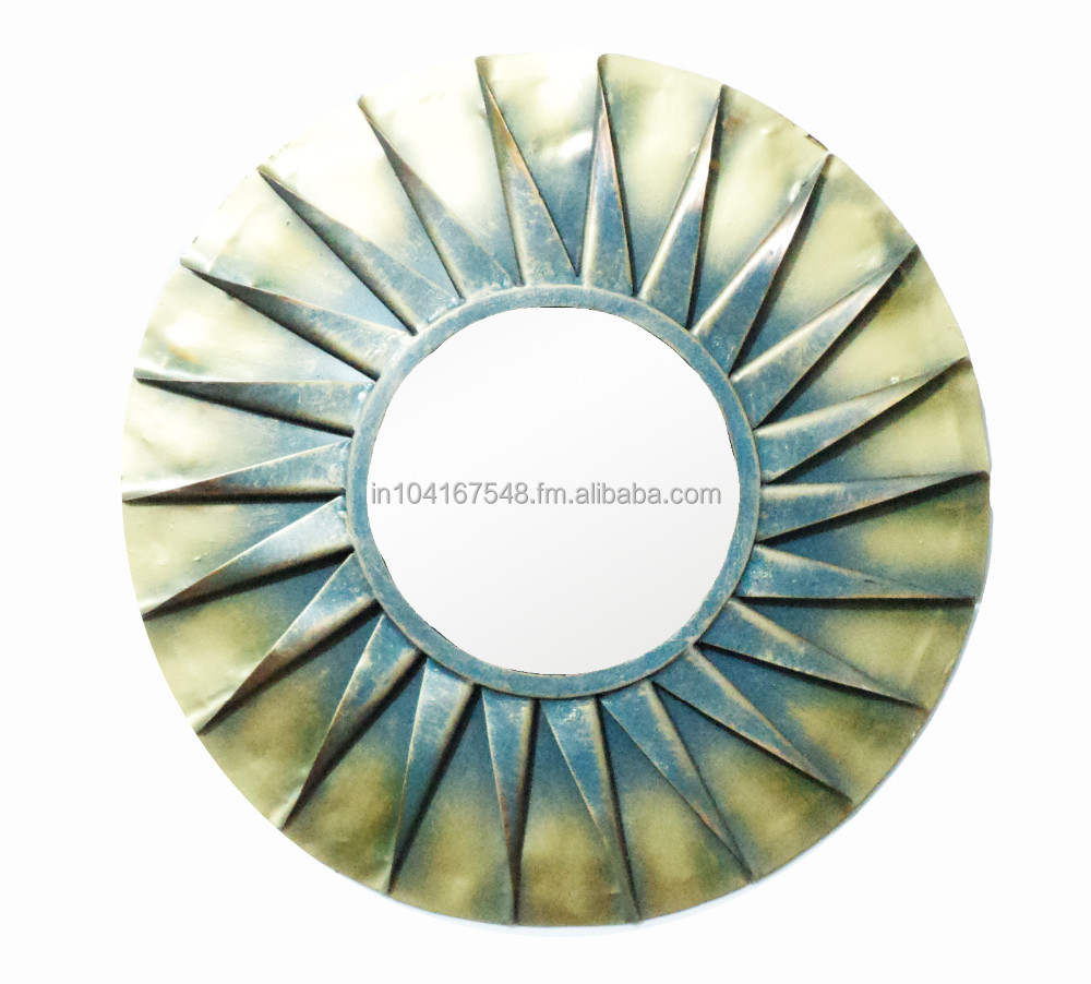 Round Shaped Wall Decor : Metal frame decorative wall mirror for home decor round