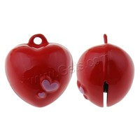 Brass Bell Pendants Heart painted red nickel lead & cadmium free 20x22x18mm Hole:Approx 1.5mm Sold By PC