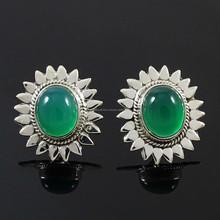 Green Onyx Gemstone Sterling Silver Earring Set 925 Marked Fashion Jewelry 7 Gra