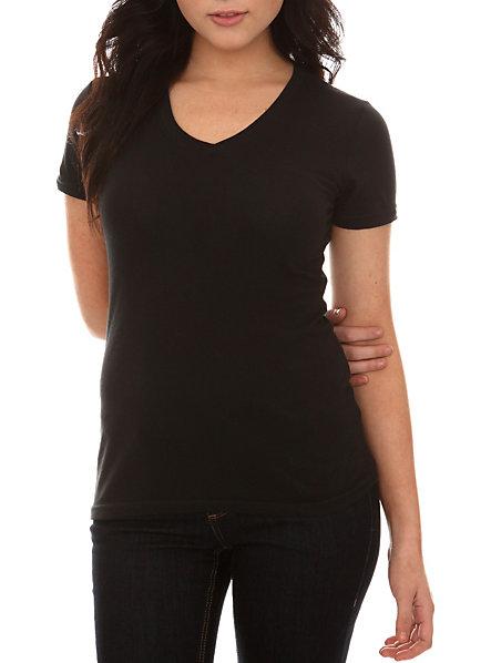 Custom 100 cotton womens sexy blank slim fit v neck short for V neck black t shirt women s