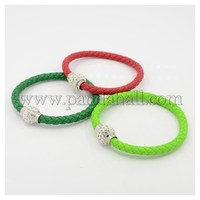 Braided PU Leather Bracelet Making, with Alloy Polymer Clay Rhinestone Magnetic Clasps, Mixed Color, 210x6mm BJEW-J065-M