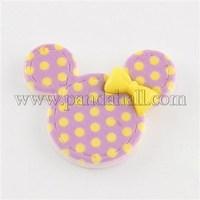 Scrapbook Embellishments Flatback Cute Polka Dot Cartoon Mouse Head Plastic Resin Cabochons, Violet, 26x32x5mm CRES-Q117-06