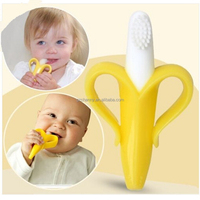 Excellent Quality Best Price Banana Brush Baby Soft Chewable Silicone Toothbrush and Teether Without BPA