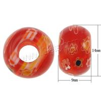 multi-colored Drum Millefiori Lampwork Large Hole Bead