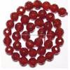 Faceted Round Carnelian Agate Beads, Semi Precious Gem Beads