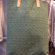 Dobbytex Best Selling Thai Cotton Dark Green lace tote bag with leather strap