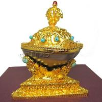 with turquoise & Agate Brass Buddhist Kapala Offering
