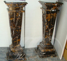 Pedestal Black and Gold Marble Taper Style