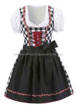 3pcs Black cotton jeans and check Drindl Custom Design Trachten Oktoberfest Bavarian Traditional Dirndl For Women