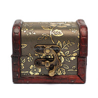 Antique Vintage Flower Print Wooden Metal Lock Sorage Retro Jewelry Box Wood Organizer Case Boxes