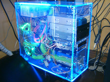 Cases CPU box transparently LEDS different colors and 6 FAN Coolers