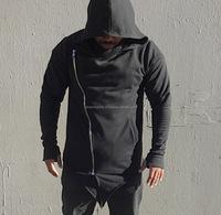 Super Longline Side Zipper 100% Cotton Hoodie Blank for Men