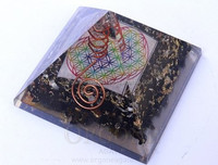 Orgone Black Tourmaline Pyramid With Flower Of Life Chakra Symbol Charged Crystal Point : Orgonite Supplier from India