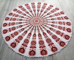 "Round Mandala Roundie Beach Throw Tapestry Hippy Boho Gypsy Cotton Tablecloth Beach Towel Beach throw yoga mat 70-72"" Aprox"