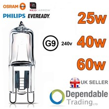 OSRAM / Red Arrow / Philips / Eveready G9 Halogen Lamps 25W / 40w / 60w Clear Capsule Light Bulbs 240v