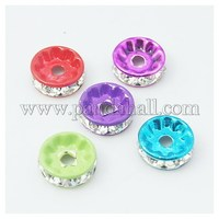 Painted Brass Rhinestone Spacer Beads, Grade A, Straight Edge, Rondelle, Mixed Color, 8x4mm, Hole: 2mm RB-S010-8mm-M