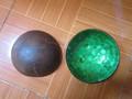 coco de joyería tazón, artesanía de coco tazón, azul nácar interior