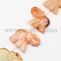 """Natural Red Agate Stone Bead Strands, Elephant, 35x43x8mm, Hole: 1mm; about 10pcs/strand, 15.7"""" G-R191A-08"""